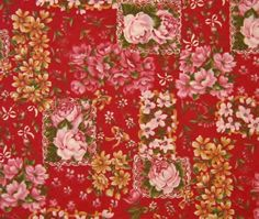 Cotton Fabric Pink Roses Floral