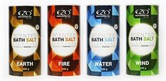 EZO Aromatisches Badesalz mit der Zugabe von Salz aus dem Totem Meer Elemente: WIND, ERDE, FEUER, WASSER 4er Pack (4 x 500g tube) EZO