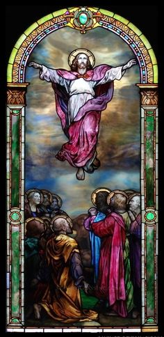 """Ascension Colorful"" Religious Stained Glass Window"