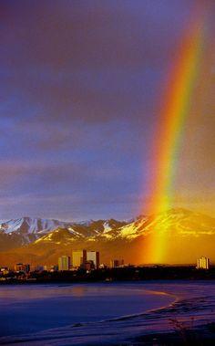 My Pot of Gold: Rainbow Anchorage, Alaska photography city nature rainbow mountain alaska Alaska Usa, Anchorage Alaska, Alaska Trip, Beautiful World, Beautiful Places, Places To Travel, Places To Visit, Paris 3, Rainbow Sky