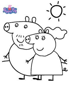 Printable Peppa Pig Coloring Pages. Have a Joy with Peppa Pig Coloring Pages. Do your children like to color pictures? If they do, the Peppa pig coloring pages Peppa Pig Coloring Pages, Family Coloring Pages, Elephant Coloring Page, Cartoon Coloring Pages, Cat Coloring Page, Printable Coloring Pages, Coloring Pages For Kids, Coloring Books, Peppa Pig Familie