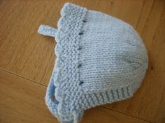 Plain Bonnet with Knitted In Ties pattern by Wye Needlecraft This bonnet can be knitted in or Double Knitting weight yarns. Baby Hats Knitting, Knitting For Kids, Double Knitting, Baby Knitting Patterns, Knitting Projects, Knitted Hats, Crochet Patterns, Knitting Yarn, Knitting Sweaters