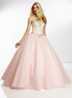 Fabulous full tulle pink ball gown by Mori Lee