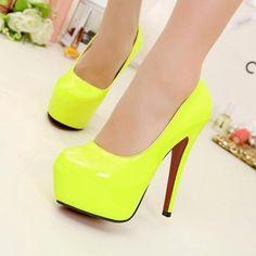 Women High Heels Stilettos Candy Fluorescent Yellow #Platform #Round Toe #Shoes