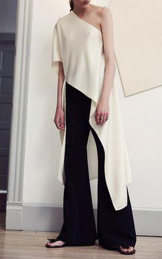 One Shoulder Bias Caftan Satin Top by ROSETTA GETTY for Preorder on Moda Operandi