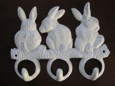 Hey, I found this really awesome Etsy listing at https://www.etsy.com/listing/126362635/bunny-rabbit-hooks-shabby-white-cast