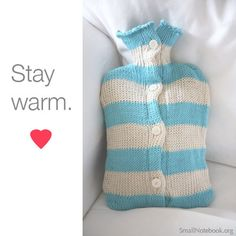 Hot Water Bottle from www.totoknitsshop.com Gorgeously soft organic cotton, hand made hot water bottle cover to keep you extra warm in the cold winter months! Great gift for grown ups! Comes in multicoloured stripes or solid colours.