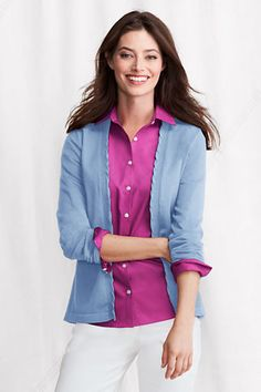 I like the cardigan because it's basic, but kind of unique because of the edging.  I like the shirt underneath it.  I like the overall look of this outfit.