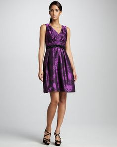 Sleeveless Cocktail Dress With Full Skirt by Carmen Marc Valvo at Neiman Marcus.