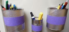 Basically a can or cup (or whatever) with magnets on it, to stick on your fridge -- or on File Cabinets! -- to hold pens, paperclips, labels, whatever.  http://macgyverisms.wonderhowto.com/how-to/organize-your-odds-and-ends-with-these-easy-diy-magnetic-bins-0137797/