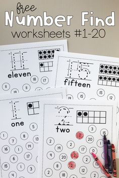 Number Find Worksheets Print this free preschool and kindergarten math activity to promote number recognition! Kids find the featured number and color or dab it. Get free printable number worksheets in the bundle! Numbers Kindergarten, Kindergarten Math Activities, Free Preschool, Preschool Lessons, Teaching Math, Preschool Education, Free Printable Kindergarten Worksheets, Kids Printable Activities, Education College