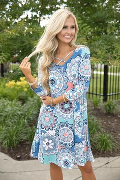My Hopes And Dreams Printed Dress Blue - The Pink Lily