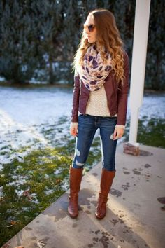 burgundy-leather-jacket-outfit- Fall burgundy outfit ideas http://www.justtrendygirls.com/fall-burgundy-outfit-ideas/