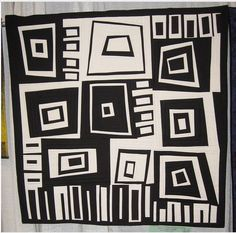 Square Dancing by Annette Guerrero Looks like some of the studies I saw for NC classes. Black and white quilt Quilting Projects, Quilting Designs, Gees Bend Quilts, Black And White Quilts, Two Color Quilts, Geometric Quilt, Log Cabin Quilts, Art Textile, Contemporary Quilts
