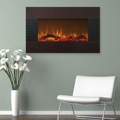 Electric Fireplace Wall Mount Floor Stand Glass Mahogany Finish Remote Control #Northwest #Fireplace #Electric #Wall #Decoration