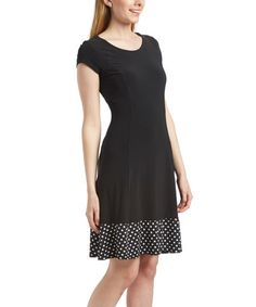 Another great find on #zulily! Black & White Polka Dot A-Line Dress - Plus Too #zulilyfinds