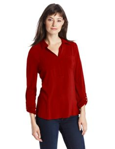 Chaus Women's Two Pocket Collared Henley