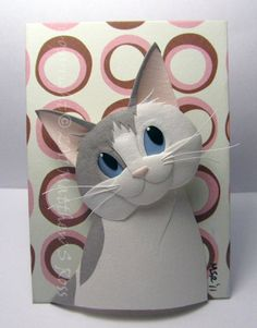 Grey and White CAT Original Paper Sculpture ACEO by Matthew Ross. $50.00, via Etsy.