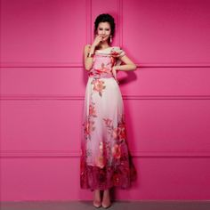 Western Style Stylish Floral Print Sleeveless Maxi Long Dresses