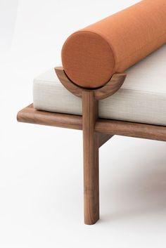 furniture details Walnut Crescent Lounge by Vonnegut/Kraft Diy Garden Furniture, Furniture Makeover, Furniture Decor, Modern Furniture, Furniture Design, Rustic Furniture, Cheap Furniture, Furniture Movers, Furniture Online
