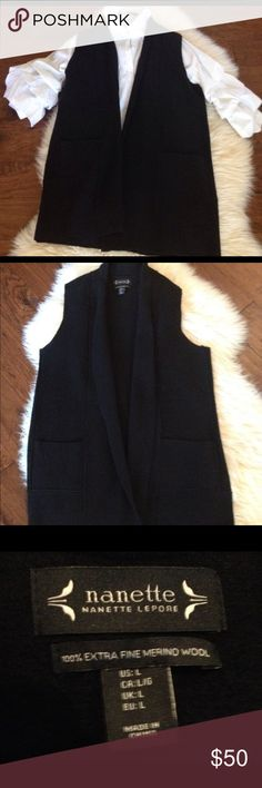"""Nanette Lepore Merino Wool Long Black Sweater Vest This beautiful long black sweater vest is 100% Extra Fine Merino Wool. It is new without tags and has never been worn and in excellent condition. It is a great layering piece to wear with skinny jeans, leggings or skirts. Front is open with no button or snap closure. Has 2 front pockets. Approximate measurements of vest lying flat in inches. Length (top of shoulder to bottom of vest): 34"""" Bust: 21"""" Very open to questions and offers😊 Nanette…"""