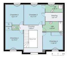 Maison 160 m² Etage Plan Chalet, Dressing, House 2, 2nd Floor, Future House, Facade, Sweet Home, Villa, Floor Plans