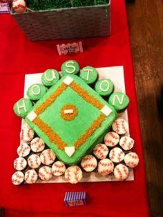 baseball cake & cupcakes.  perfect.