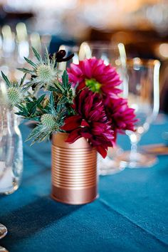 Dahlias and thistle are a DIY rose gold painted coffee can turned vase