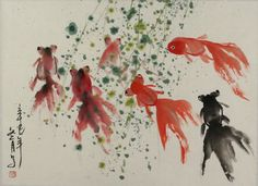 freehand painting | Fish in Winter - Chinese Freehand Painting - Asian Koi Fish Paintings ...