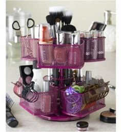 Two Tier Hot Pink Make Up Carousel Organizer