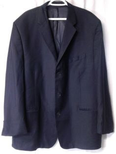 DKNY MENS Navy Blue 3 BUTTON BLAZER SPORT COAT Sz52? Super 100's Fabric Italy #DKNY #ThreeButton