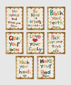 Would love to make these.  Good Manners Wall Card Set | Daily deals for moms, babies and kids