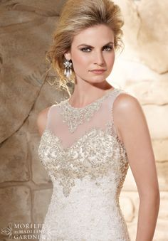 Wedding Dress 2789 Crystal Beaded Bodice Meets the Cascading Alencon Lace Appliques on Net Over Soft Satin