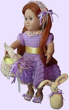 Maggie's Crochet � Ready for Spring for 18 Inch Dolls Crochet Pattern #crochet #pattern #doll #design #style #fashion #spring #easter #bunny #cute