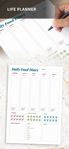 This Food Diary Sheets is the perfect way to keep your daily meals, calorie count and groceries organized. Know when you ate last so you know when to eat again. It comes in a ready-to-print format or use with Goodnotes, Notability, Xodo and Noteshelf for your for your Android tablet, so you can start using it today. #food #diary #daily #plan #format Diary Template, Journal Template, Planner Template, Meal Planner Printable, Weekly Meal Planner, Free Printable, Diet Diary, Food Diary, Pre Wedding Party