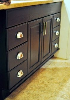 Monica Wants It: A Lifestyle Blog: Staining Oak Cabinets an Espresso Color {DIY Tutorial}