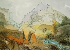 Mountains of North Wales - Original ink and watercolour painting - Lovely Gift!