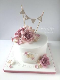 Inspiration Picture of 80 Birthday Cake . 80 Birthday Cake Vintage Style Inspiration Picture of 80 Birthday Cake . 80 Birthday Cake Vintage Style Birthday Cake With Sugar Roses And Bunting Topper - Elegant Birthday Cakes, Vintage Birthday Cakes, 90th Birthday Cakes, 50th Cake, Birthday Cakes For Women, Birthday Cake With Roses, 70 Birthday, Vintage Cakes, Birthday Ideas