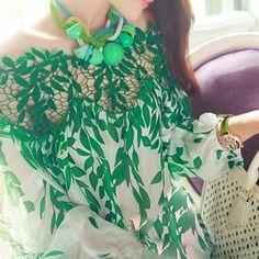 Blouse femme ete 2017 Vintage Women Long Sleeve Chiffon Blouse Embroidery Floral Green Leaves Lace Hollow Out Shirts Blusas Lace Print, Print Chiffon, Chiffon Shirt, Chiffon Tops, Lace Chiffon, White Chiffon, Lady, European Fashion, European Style