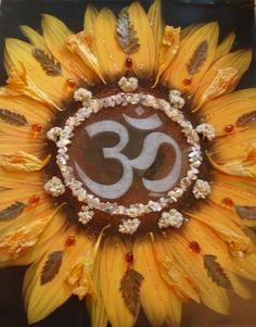 Items similar to Sunflower Mandala - Mixed Media Collage -OOAK framed original artwork on Etsy Mantras Chakras, Ganesha, Hamsa, Namaste, Tatto Love, Sunflower Mandala, Om Symbol, Mixed Media Collage, Yoga Meditation