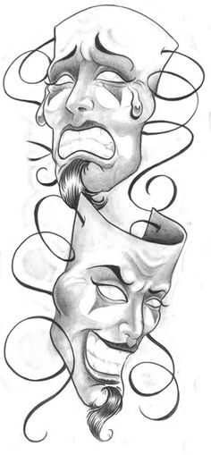 Laugh Now Cry Later Clown Masks Tattoo Design