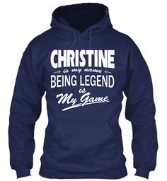 Christine Name, Legend Game Navy Sweatshirt Front