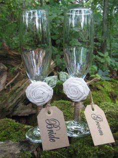 Rustic Wedding Toasting Glasses Bride & Groom by goodbuyNoraJean, $25.95