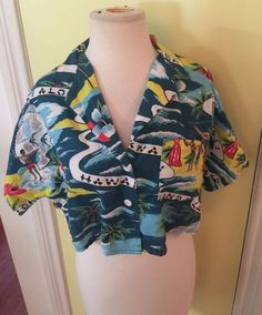 Vintage 1980s Sunset beach hawaiian hipster belly crop top tiki hula half shirt #sunsetbeach #Shirt #Casual