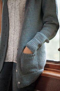 Boyfriend Cardigan - Knitting Patterns and Crochet Patterns from KnitPicks.com by Kerin Dimeler- Laurence #cardiganknittingpatterns