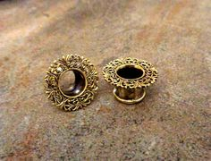 "Pair Antique Brass Plugs, Filigree Vintage Gauges, 2G 0G 00G 1/2"" 9/16"" 5/8"", Body Jewelry Nickel Free"