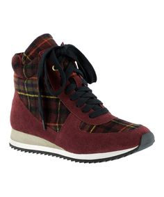 Look at this Burgundy Plaid Enice Hi-Top Sneaker on #zulily today!