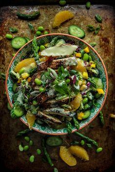 Almond Crusted Chicken and Orange Wasabi Salad