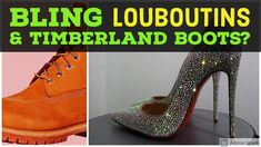 Louboutin So Kate Strass - Bling Timberland Boots Upcoming Project Bling Wedding Shoes, Bling Shoes, Christmas Shoes, Holiday Shoes, Custom Sneakers, Custom Shoes, Custom Timberland Boots, Professional Shoes, Embellished Shoes