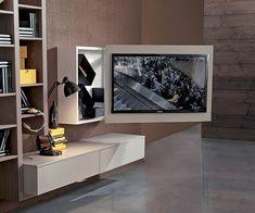 Moderne TV Wandhalterung / schwenkbar / aus Metall / lackiertes Holz - BOX - Fimar Srl - Videos